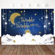 Twinkling Sstars Background for Photography Baby Shower Backdrop Golden Glitter Moon and White Clounds Birthday Photo Background подушка printio derpy clounds
