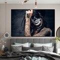 Картина на холсте, настенные художественные плакаты, черный череп, тату, девушка, современная картина на стену, холсты, Куадрос, художествен...