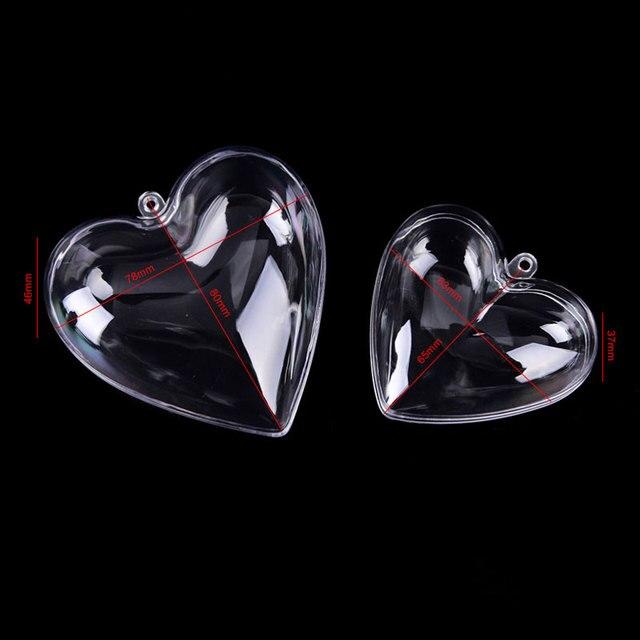 2019 Hot Sale 1 Set 65/80mm DIY Clear Plastic Clear 2Pcs Bath Bomb Mold Heart Shape Acrylic Mould 80*78*46mm 3
