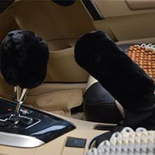 2pcs Car Handbrake Grip Covers Soft Plush Sleeve Winter Warm Handle Cover