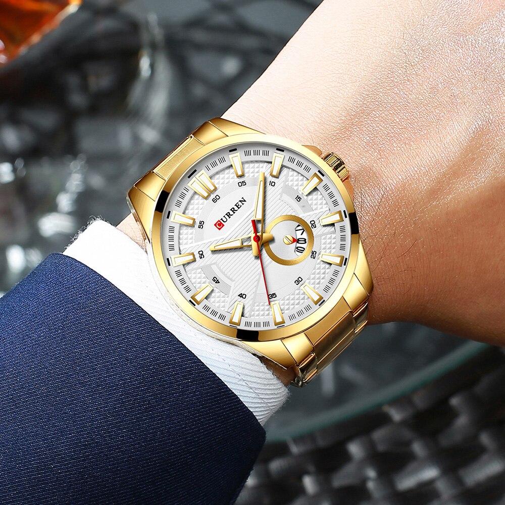 H0035243063674e92bbe6f6cbbc88d71ad New Stainless Steel Quartz Men's Watches Fashion CURREN Wrist Watch Causal Business Watch Top Luxury Brand Men Watch Male Clock
