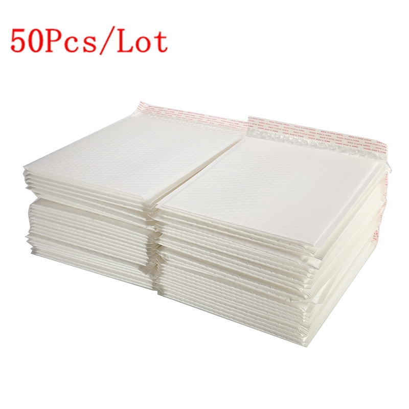 50Pcs/Lot Matte White Bubble Film Envelope Bag Different Specifications Foam Express Delivery Packaging Mailing Envelope Bag