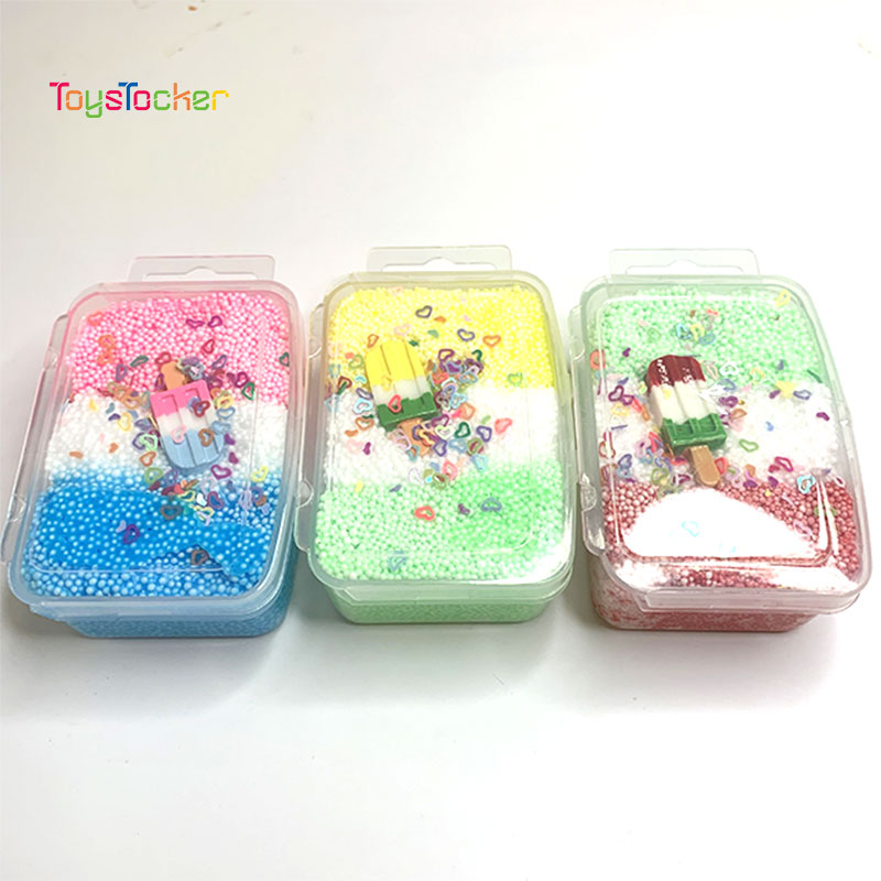 Snow Mud Foam Balls Beads Glue Slime Charms Toys Anti Stress Charm Butter Slime Putty For Children Handmade