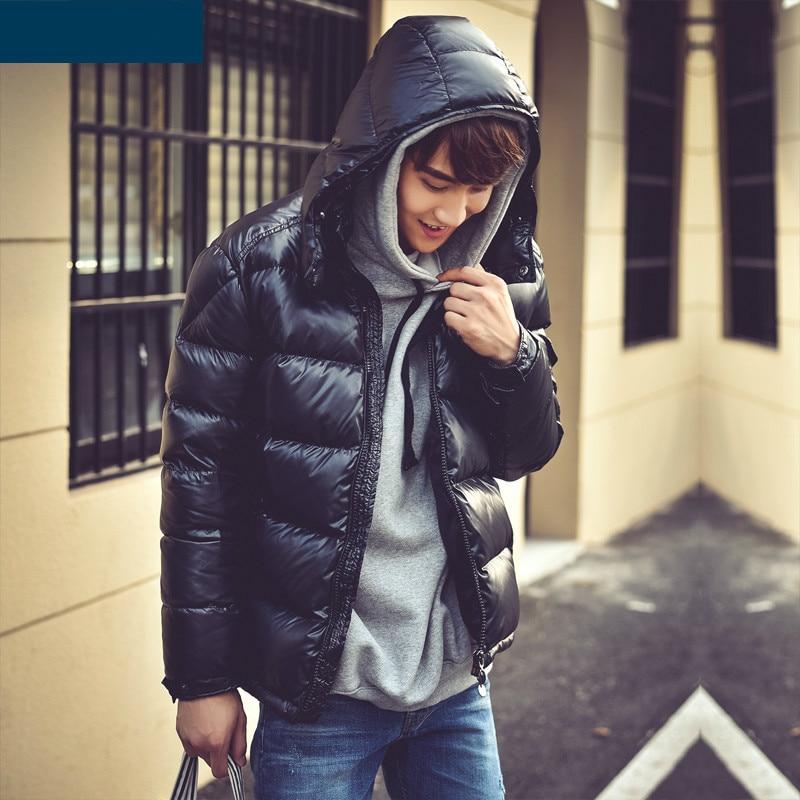 Men's 90% White Duck Down Jacket Hooded Winter Jacket For Men Thick Short Puffer Coat Man Parka Casaco Masculino KJ758