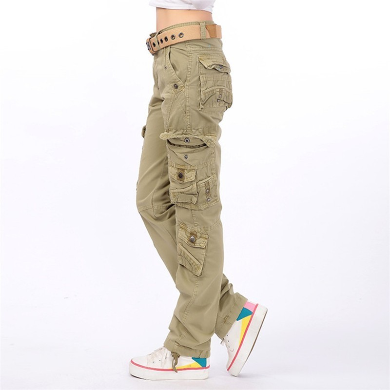 Women\'s Large Size Multi Pocket Baggy Trousers Loose Straight Army Overalls Female Outdoor Hiking Climbing Military Cargo Pants