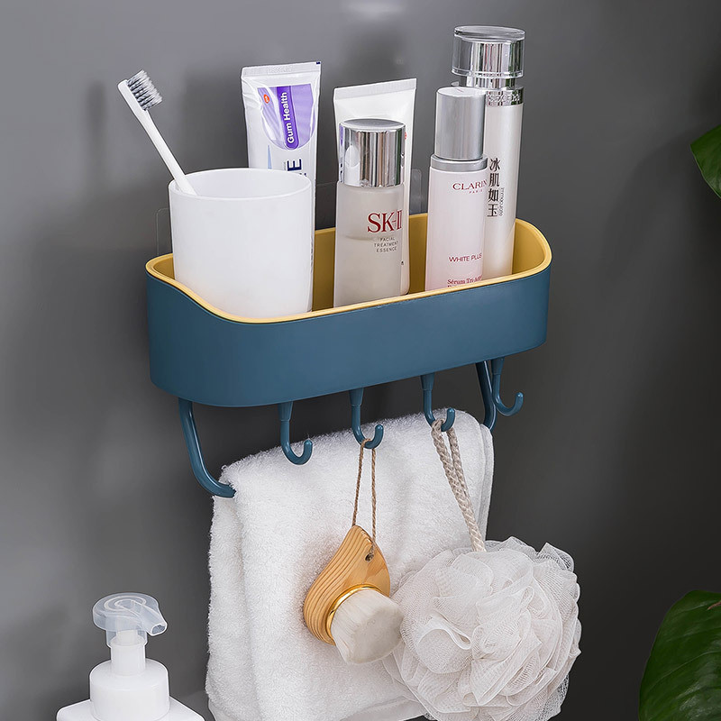 VOGVIGO Bathroom Shelf Wall Hanging Bathroom Storage Rack Free Punch Wall Toilet Bathroom Vanity Towel Rack