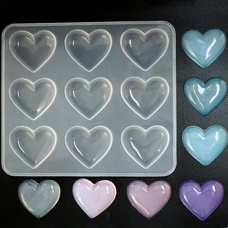 9 Cup Heart Chocolate Silicone Dessert Mould Baking Cupcake Resin Jewelry Mold