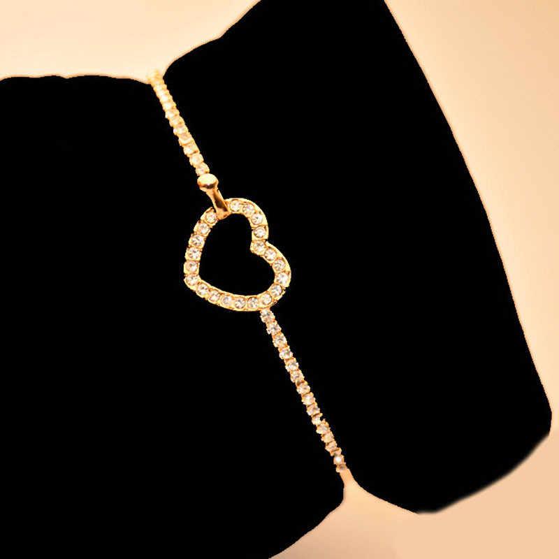 ファッション女性のハートブレスレットアンクレットゴールドブレスレット女性ギフトのためのゴールドブレスレット女性の誕生日の結婚式を freeshipping