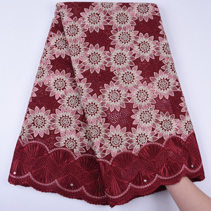 2019 New arrival African Swiss 100% Cotton Embroidery Lace Fabrics Nigerian High-quality Voile Lace Fabrics For Women Dress(China)