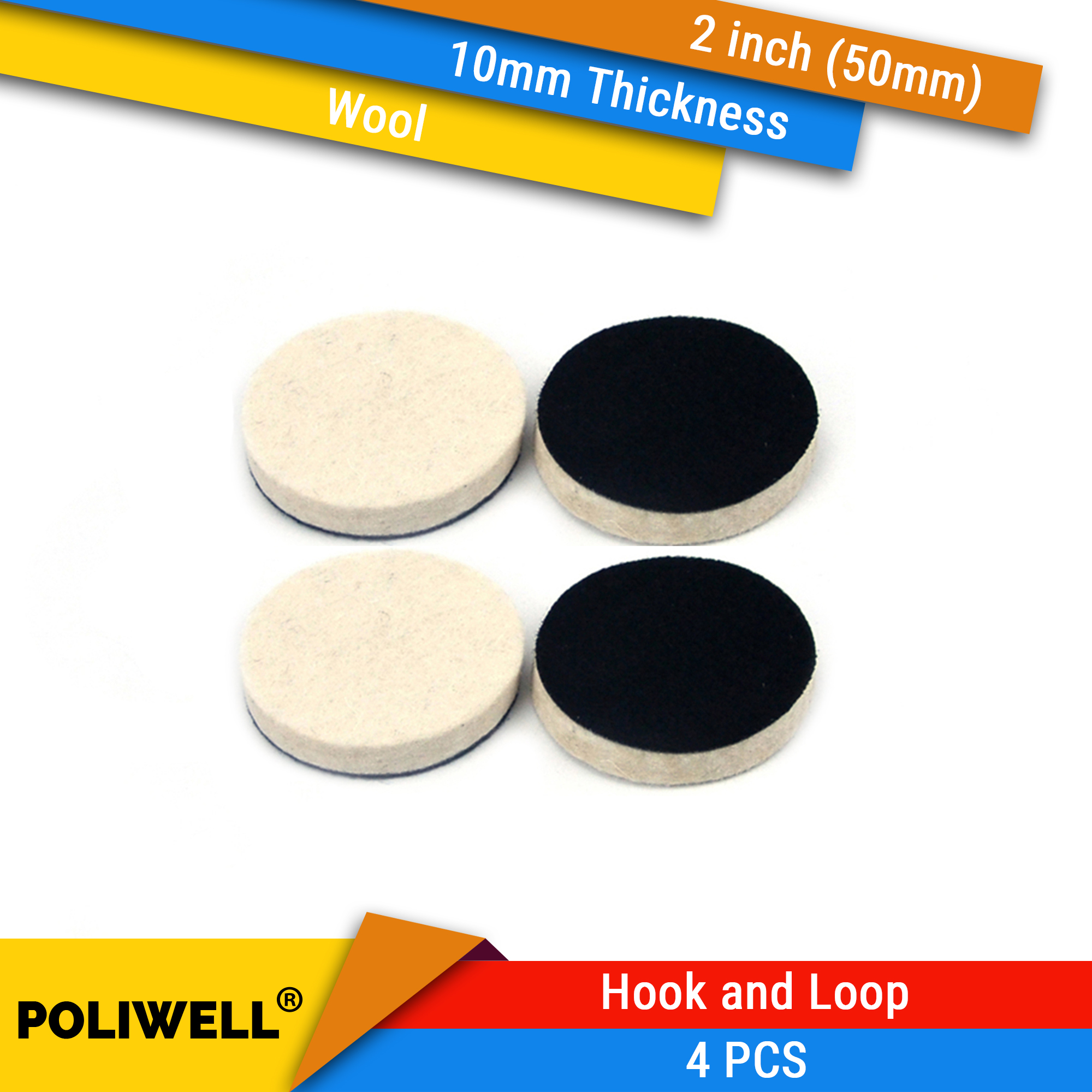 4PCS 2 Inch 50mm Round Wool Polishing Disc Flocking Backing For Sanding Pad Car Metal Grinding Polishing Power Tools Accessories