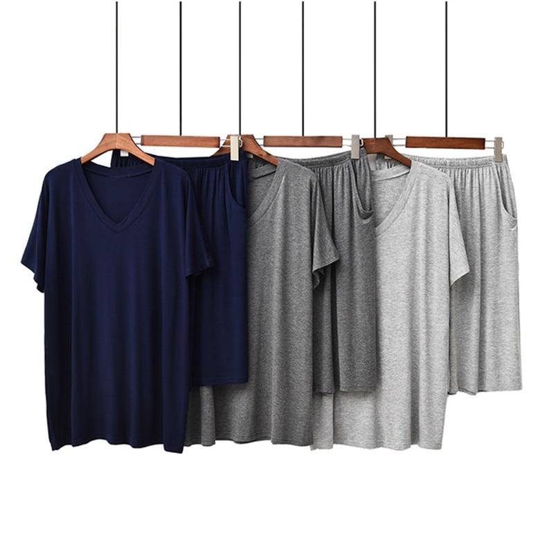 Men's Pajamas Summer Modal Casual Loose Gray Short-sleeved Shorts Breathable V-neck 2 PC пижама мужская Soft Navy Blue Homewear