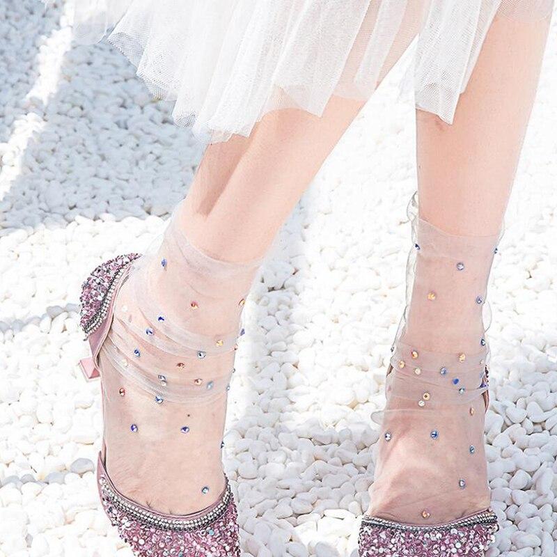 Shine Crystal Tulle Socks Women Transparent Thin Long Socks Femme Happy Socks Dress Streetwear Calcetines Muje
