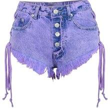 Женские сексуальные шорты, новинка, модные джинсовые шорты стрейч с кисточками, карманами и пуговицами, высокая талия, мини шорты
