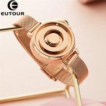 Eutour-reloj negro magnético dorado para mujer, cronógrafo femenino de cuarzo, con cinturón real de acero inoxidable