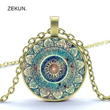 2019/ Hot Sale, New Fashion Vintage Buddhist Round Crystal Pendant Necklace, Indian Yoga Mandala Men and Women Jewelry