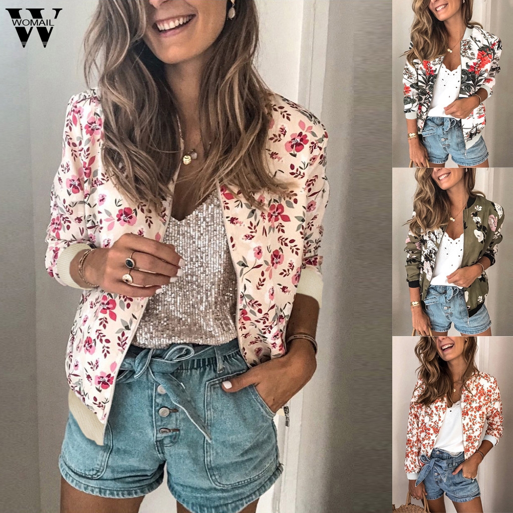Womail Женская куртка, новинка 2019, модная, цветочный принт, элегантная, осенняя, на молнии, офисная одежда, тонкая, офисная, официальная, длинный рукав, верхняя одежда 916|Куртки|   | АлиЭкспресс