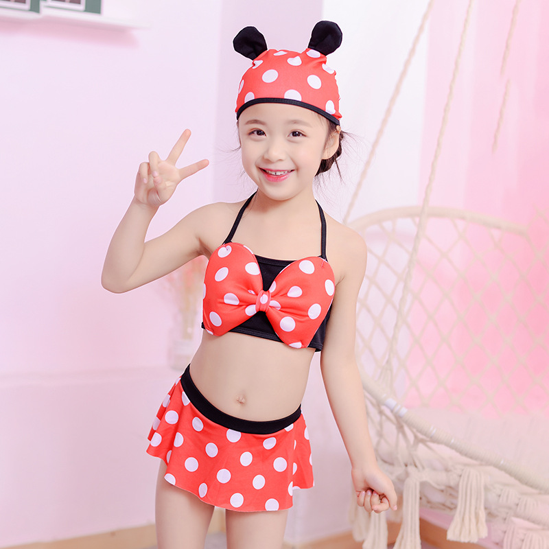 KID'S Swimwear GIRL'S Cartoon Split Type Tour Bathing Suit Cute Children Hot Springs Swimming Trunks Set Swim Cap Three-piece Se