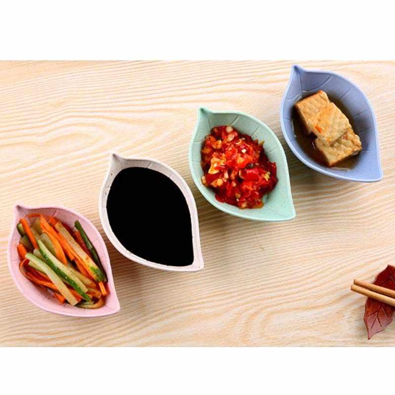 Creatieve Leavess Schotel Baby Kid Kom Tarwe Stro Sojasaus Schotel Rijstkom Plaat Sub-Plaat Japanse Servies Voedsel container