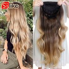 Silike 24 Inch Golvend 3/4 Half Pruik Lange Synthetische Hair Extensions Ombre Blonde Capless Pruiken Haar Clips Uitbreiding Voor Vrouwen 210G