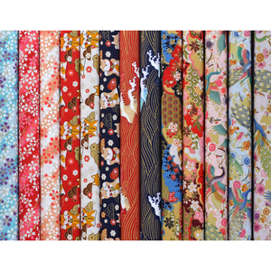 Multi Style Black Red Cotton Cherry Blossom Bronzing Japanese Fabric, Cat Butterfly Precut Sewing Patchworks Quilting Fabric(China)