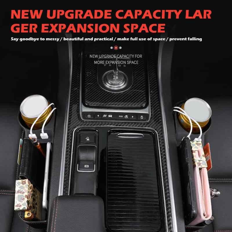 Evrensel araba koltuğu Gap dolgu Catcher organizatör konsol yan cep saklama kutusu durumda çift USB şarj bardak tutucu otomatik istifleme