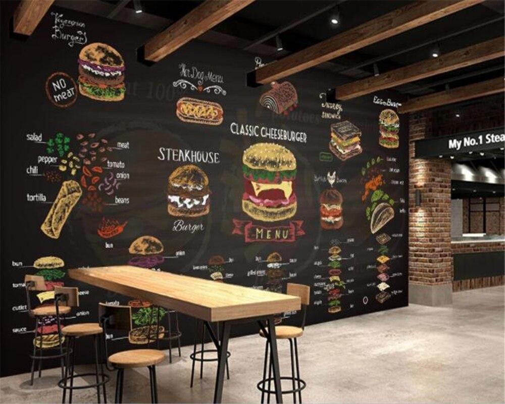 Beibehang Custom Wallpaper Photo Hand-painted Colorful Chalk Burger Background Wall Restaurant Fast Food Restaurant 3d Wallpaper