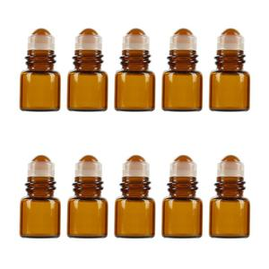 10Pcs 1ml Amber Glass Roll on Bottle Sample Test Essential Oil Vials with Roller Refillable Bottle Travel Cosmetic Container