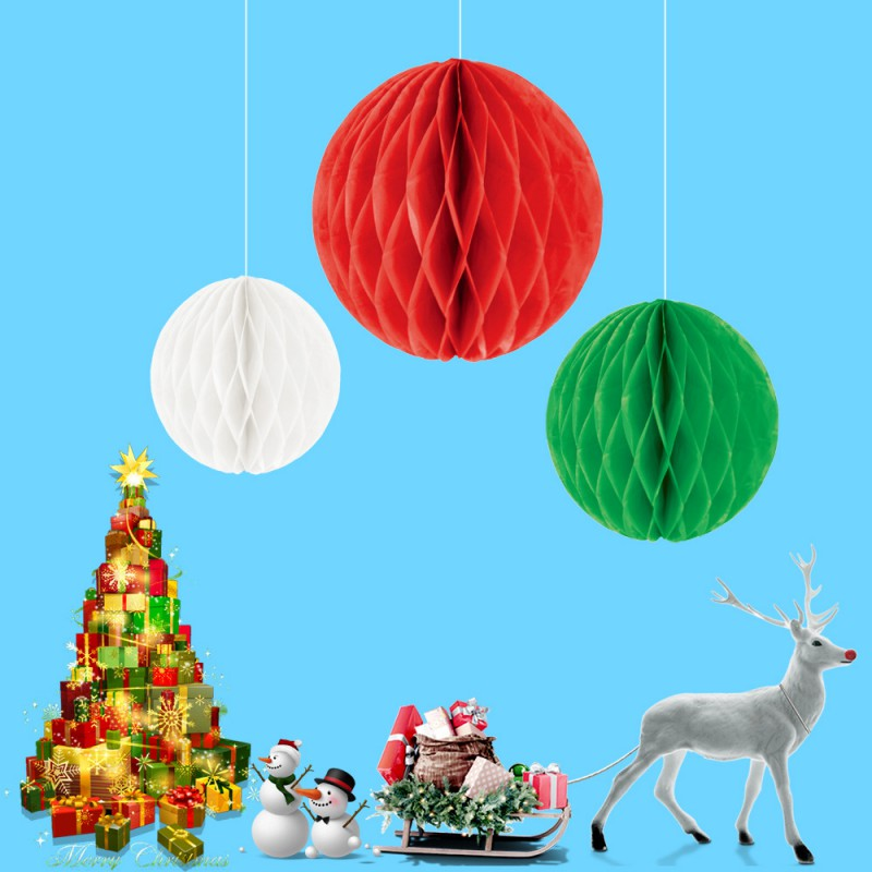 3Pcs Set Christmas Festival Pendant Honeycomb Ball Party Decoration Ornaments Exquisite 3D Paper Crafts Bell Flower Pull in Party DIY Decorations from Home Garden