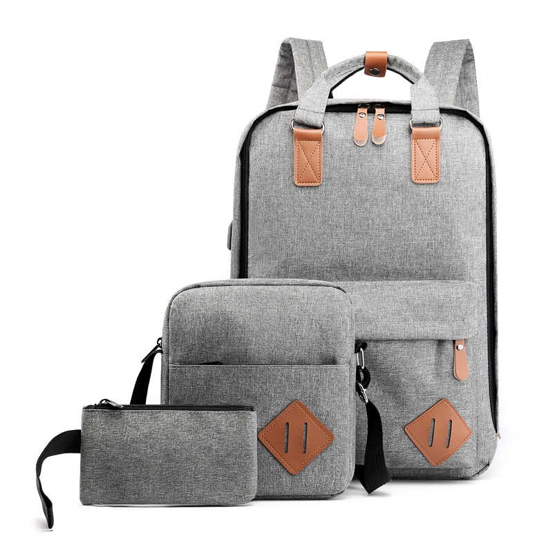 3pcs/sets (backpack+shoulder bag+coin bag) unisex backpacks men daypacks women bagpacks 15.6 inch laptop shoulder school bags
