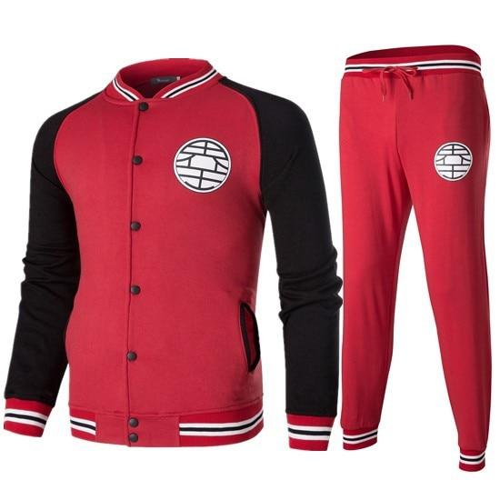 2018 New Style Autumn And Winter Hoodie Suit Dragon Ball Community Wang Printed Baseball Uniform Pants Set Men's