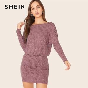 Image 1 - Женское трикотажное платье блузон SHEIN, Бордовое платье в рубчик с рукавами «летучая мышь», элегантное осеннее мини платье с вырезом лодочкой и длинным рукавом