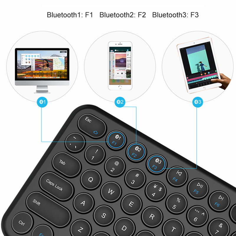 Image 5 - Round Keycap Bluetooth Keyboard Wireless Silent Gaming Keyboard For Macbook Pro iPhone iPad Tablet Ultra slim Computer KeyboardKeyboards   - AliExpress