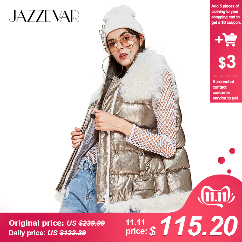 JAZZEVAR 2019 New Winter High Fashion Street Woman Futuristic Designs Edgy Silver Down Jacket Girl's Vest With Lamb Fur