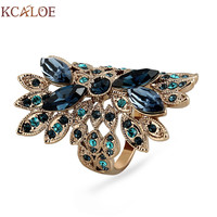 KCALOE Luxury Blue Austrian Crystal Rhinestone Vintage Finger Ring Titanium Gold Big Long Rings For Women Fashion Jewelry