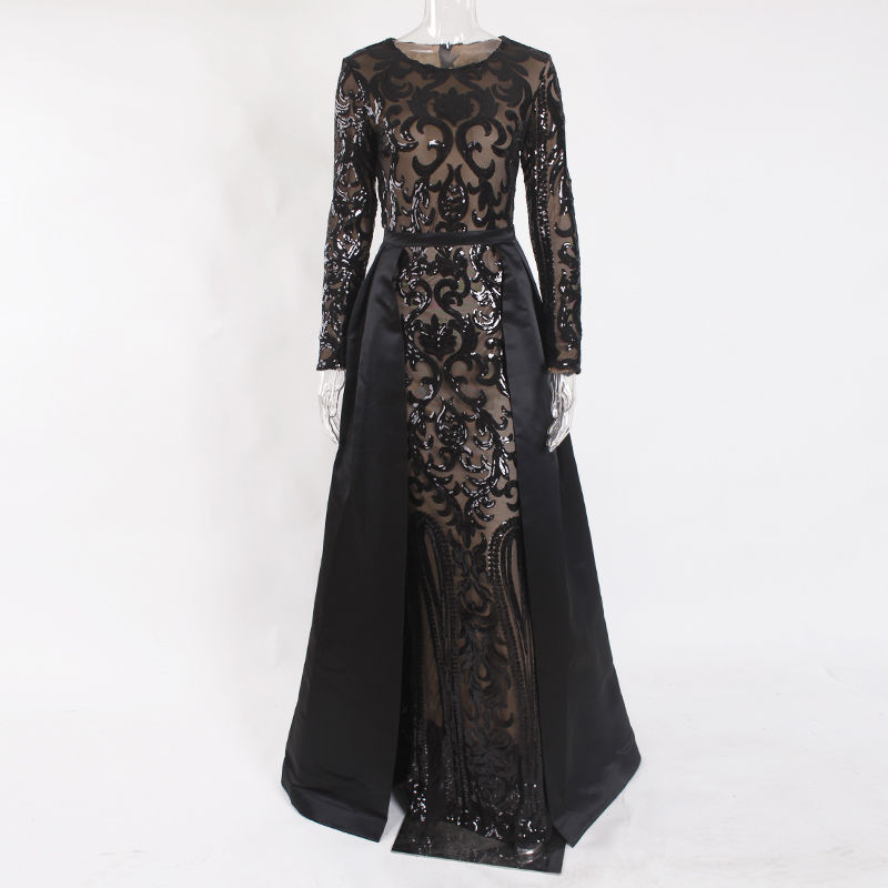 Black Evening Party Ball Gown Long Sequined Maxi Dress Full Sleeved O Neck Floor Length