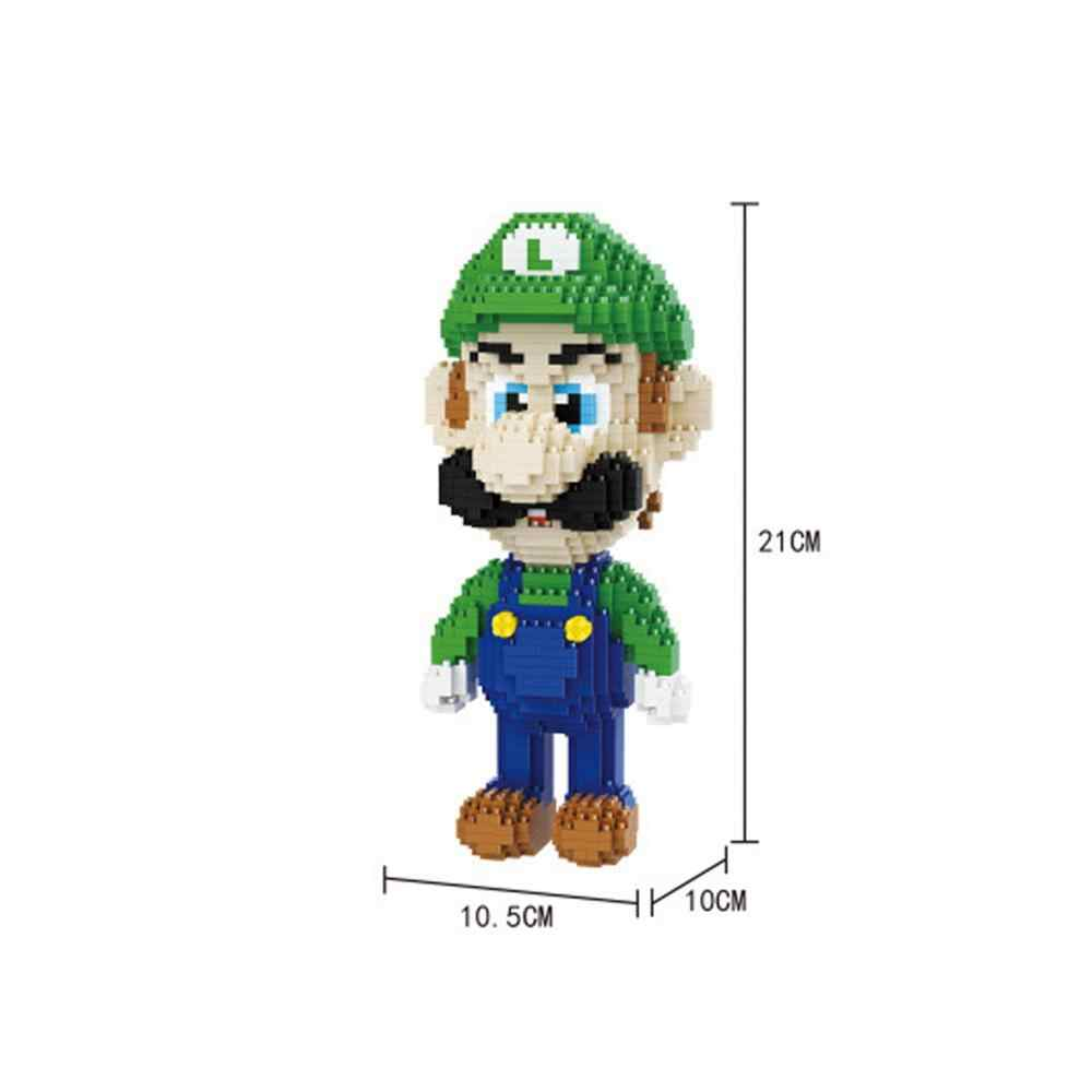Hot LegoINGlys ผู้สร้างญี่ปุ่นเกม Nintendo Super Mario Bros Luigi Mini Micro Diamond Building Blocks อิฐของเล่นสำหรับของขวัญ