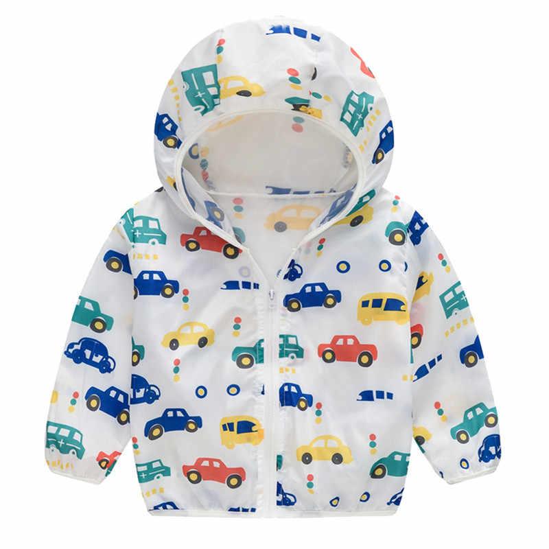 Telotuny Anak Mantel Jaket Jaket untuk Anak Perempuan Anak-anak Musim Panas Tabir Surya Jaket Printing Hooded Pakaian Luar Ritsleting Mantel