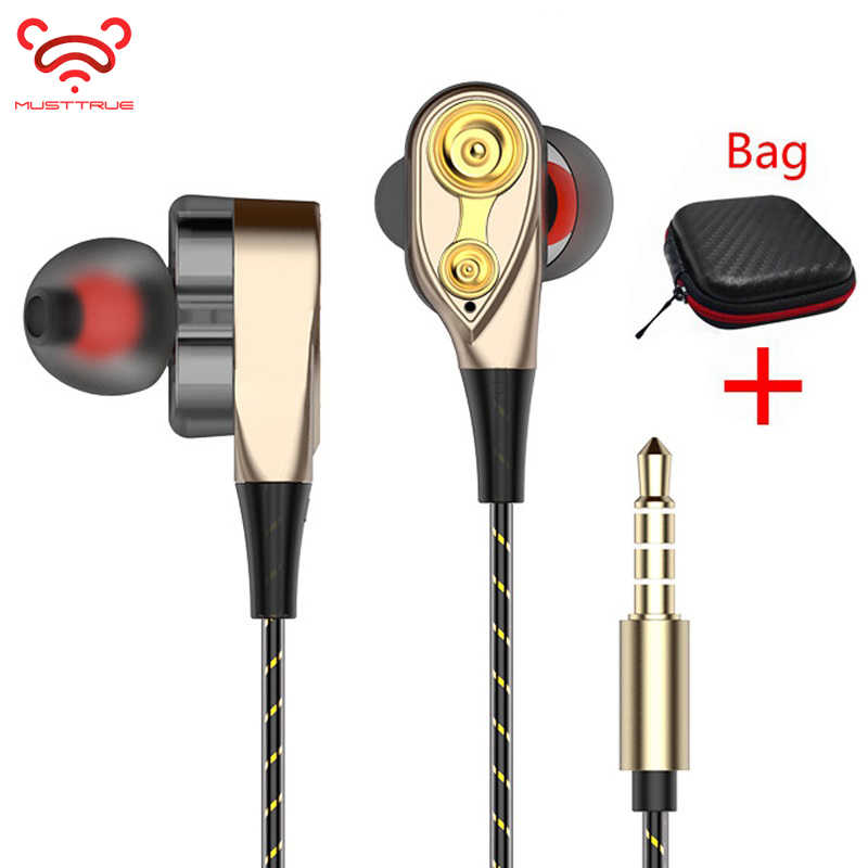 Musttrue Double Unit Drive Di Telinga Earphone Bass Sport Headphone untuk Ponsel dan PC Headset DJ Earbud Auriculares MP3