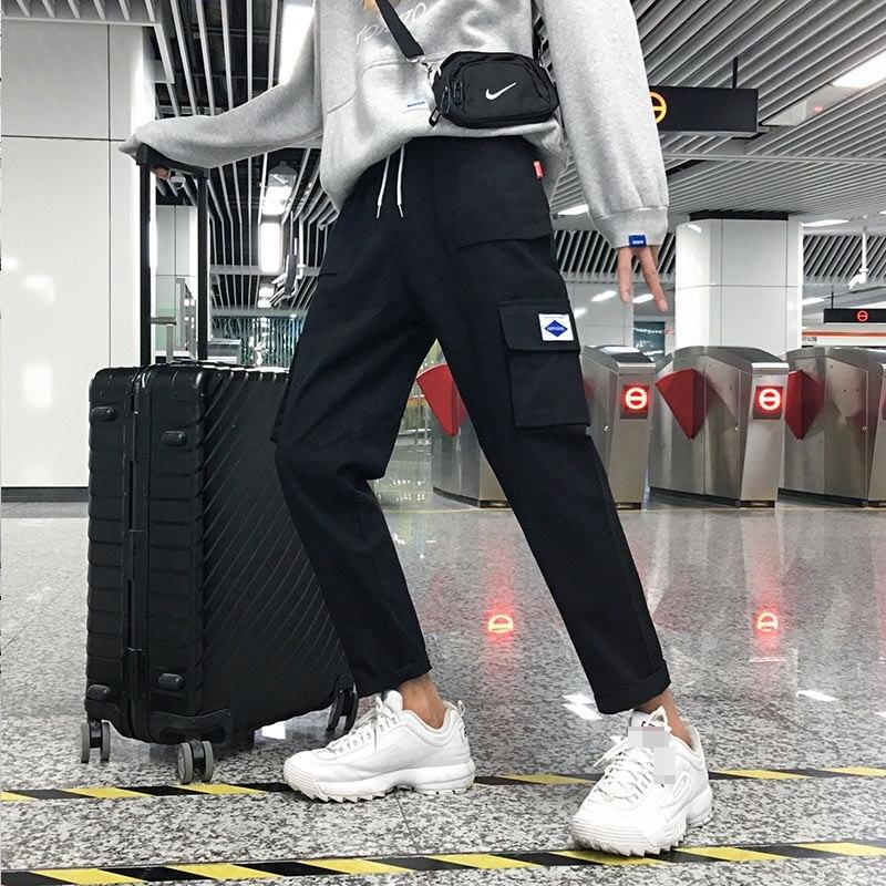 Men's Japanese Straight Harem Vintage High Street Trousers Fashion Cargo Cotton Sportswear Side Pocket Pants Joggers Men Pants