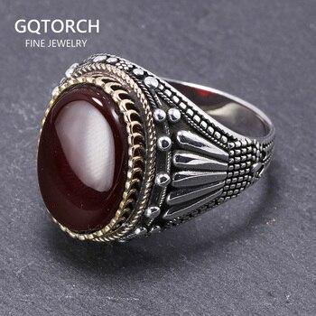 Plata de Ley 925 auténtica anillos para hombre con ojo de tigre piedras naturales anillos Vintage grande en Fijne Sieraden joyería de Turquía turca
