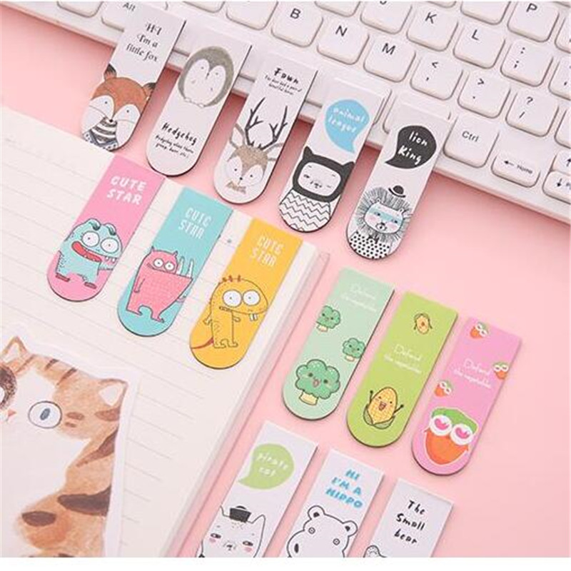 1set Creative Cartoon Magnetic Bookmarks Cute Kawaii Magnet Book Marks Student Gifts Learning Stationery Paper Book Folder(China)