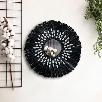 Handmade Macrame Mirror | Black Macrame Wall Hanging