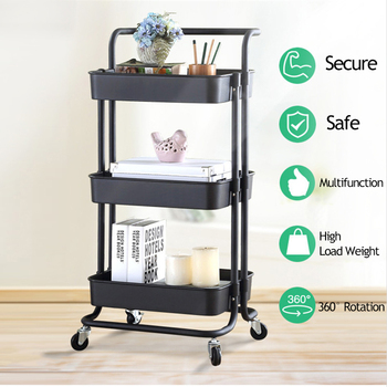 Kitchen Furniture 3 Tier Storage Trolley Cart Kitchen Organizer Bathroom Furniture Movable Shelf Wheels Household Stand Holder