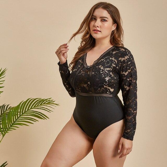 Ellolace Plus Größe Bodysuit Frauen Spitze Transparent Bodys Für Frauen  2
