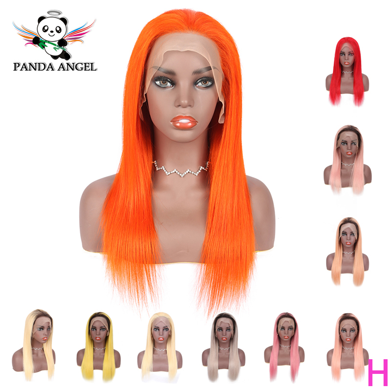 Panda 13*4 Orange Lace Front Human Hair Wigs Brazilian Remy 150% Density Yellow Straight Human Hair Lace Front Wigs For Women