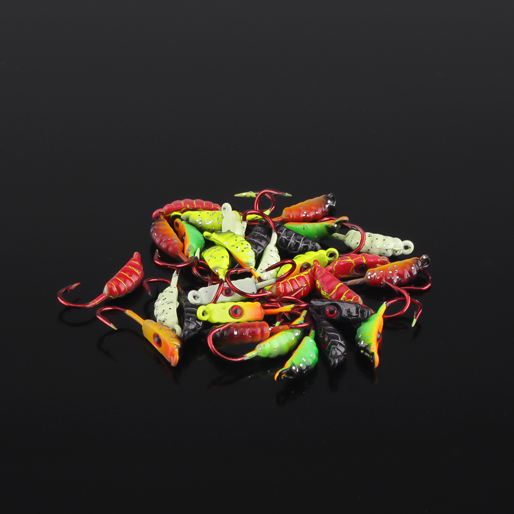 DNDYUJU 5Pcs 23mm/1.5g Ice Fishing Lure Maggot Worm The New Metal Bait Ice Jig 6Color Four Sets  Mini Lead Winter Fishing Hook