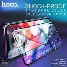 Hoco gehärtetem glas screen protector für iPhone 11 Pro Max X 11 Xr Xs Max telefon volle bildschirm schutz glas 2.5D shock proof