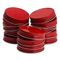 24 tampas contínuas seguras do armazenamento de pedreiro da prova do escape da boca regular das tampas do frasco de pedreiro dos pacotes (vermelho)|Tampas p/ manter alimentos frescos| |  -