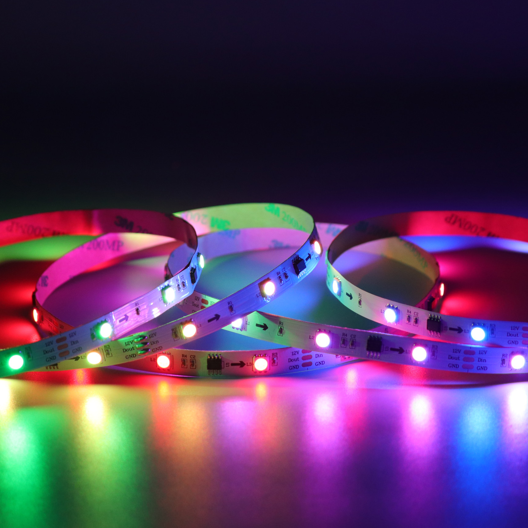 <font><b>led</b></font> ws2811 strip 30leds 10chips/m 5050RGB full color programmable DC12V ws2811 flexible cuttable stripe 10mm width program on <font><b>PC</b></font> image
