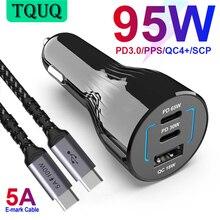 شاحن سيارة TQUQ 95 وات 3 منافذ USB C ، شحن سريع للغاية PPS PD 65 وات/45 وات/30 وات/20 وات QC4 + 18 وات لهاتف شاومي المحمول iPhone12 سامسونج جالاكسي